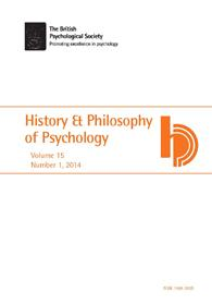 History & Philosophy of Psychology Vol 15 No 1 2014 cover image