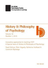 History & Philosophy of Psychology Vol 16 No 1 2015 cover image