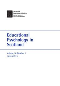 Educational Psychology in Scotland Vol 16 No 2 Spring 2015 cover image