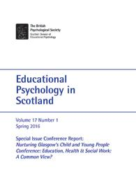 Educational Psychology in Scotland Vol 17 No 1 Spring 2016 cover image