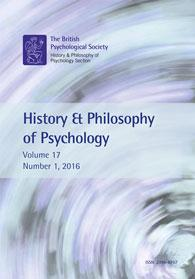 History & Philosophy of Psychology Vol 17 No 1 2016 cover image