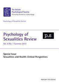 Psychology of Sexualities Review Vol 8 No 1 Summer 2017 cover image