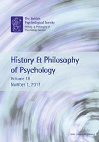 History & Philosophy of Psychology Vol 18 No 1 2017 cover image