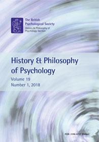 History & Philosophy of Psychology Vol 19 No 1 2018 cover image