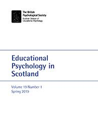 Educational Psychology in Scotland Vol 19 No 1 Spring 2019 cover image