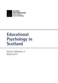 Educational Psychology in Scotland Vol 18 No 1 Winter 2018 cover image