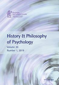 History & Philosophy of Psychology Vol 20 No 1 2019 cover image