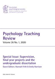 Psychology Teaching Review Vol 26 No 1 2020 cover image