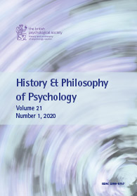 History & Philosophy of Psychology Vol 21 No 1 2020 cover image