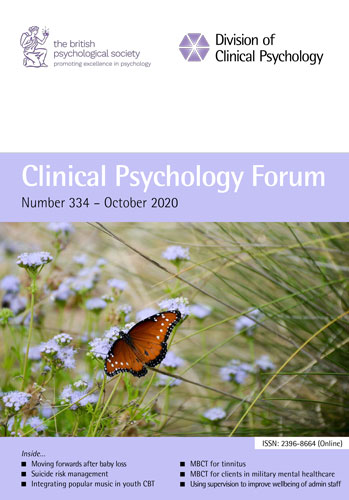 Clinical Psychology Forum No 334 October 2020 cover image