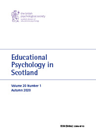 Educational Psychology in Scotland Vol 20 No 1 Autumn 2020 cover image