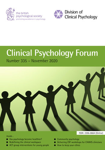 Clinical Psychology Forum No 335 November 2020 cover image