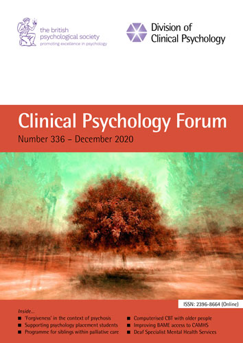 Clinical Psychology Forum No 336 December 2020 cover image