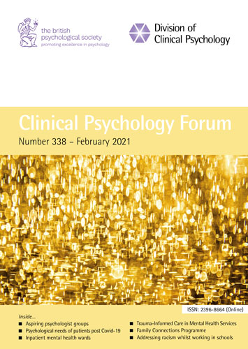 Clinical Psychology Forum No 338 February 2021 cover image