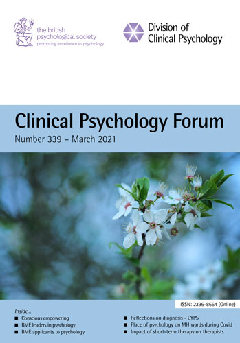 Clinical Psychology Forum No 339 March 2021 cover image