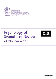 Psychology of Sexualities Review Vol 12 No 1 Summer 2021 cover image