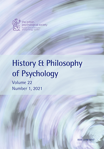 History & Philosophy of Psychology Vol 22 No 1 2021 cover image