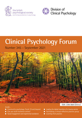 Clinical Psychology Forum No 345 September 2021 cover image